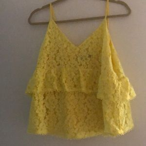 Sugar+L!Ps yellow lace tiered tank top - Large